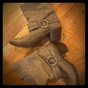 Frye - gray harness boots with heel